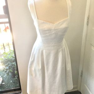 White Nanette Lepore A-line dress with pockets.